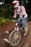 Downhill bike. A mountain bike ride in the rocky mountain Stock Image