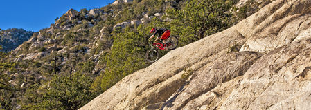 Downhill bike rider rides down Royalty Free Stock Photography
