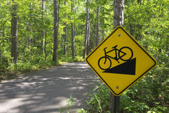 Downhill bike sign in Itasca State Park, Northern Minnesota, USA Royalty Free Stock Photos