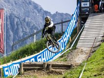 Downhill Biker at UCI Downhill Stock Images