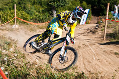 Downhill competition - motion blur Stock Photo
