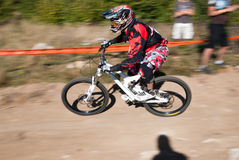 Downhill competition - motion blur Stock Image