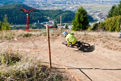 Downhill competition - motion blur Stock Photography