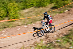 Downhill competition - motion blur Royalty Free Stock Image
