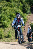 Downhill competition - motion blur Stock Images