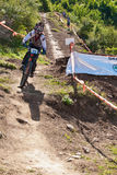 Downhill competition - motion blur Royalty Free Stock Images