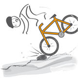 Downhill - Cyclist falls off the bike Stock Photography