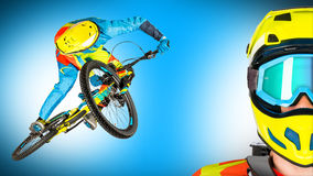 Downhill extreme jump and portrait blue panorama background Stock Image