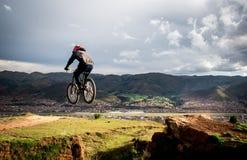 Downhill jump Stock Photography