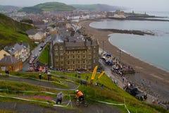 Downhill mountain bike race Aberyswyth Royalty Free Stock Photo