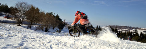 Downhill mountain bike rider Stock Images