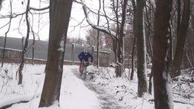 Downhill on mountain bike stock video