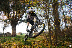 Downhill. Mountain biking sport dh extreme Stock Photo