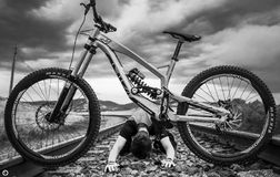 Downhill. Mountain biking sport dh extreme Stock Photography