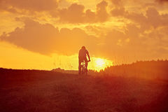 Downhill from the mountain in the sunrise Royalty Free Stock Images