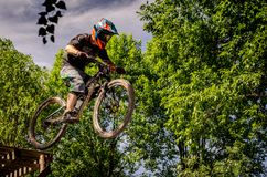 Downhill mountainbike rider. Eduro cup race in finland, mountain bikers racing down the tracks against the clock. Event was Ride More Cup, city Kouvola, Mielakka Stock Photos
