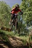 Downhill mountainbike rider Royalty Free Stock Photography
