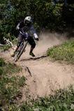 Downhill mountainbike rider Stock Photography