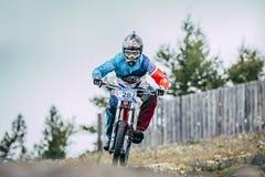Downhill racer bike Stock Photo