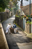 Downhill ride on cane sledges is popular touristic attraction of Funchal. Stock Photos