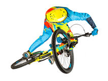 Downhill rider extreme whip jump Royalty Free Stock Photography
