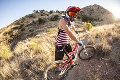 Downhill rider Simon Seeholzer at training Stock Images