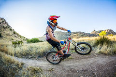 Downhill rider Simon Seeholzer at training Royalty Free Stock Image