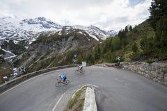Downhill road cycling pursiut Stock Image
