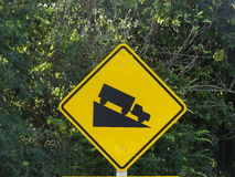 Downhill road-sign Stock Image