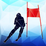Downhill skier. Abstract vector silhouette of triangle Royalty Free Stock Photography