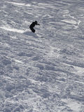 A downhill skier attacks the slope. At the Portes du Soleil, France stock photo