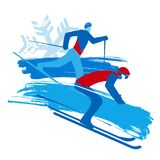 Downhill skier and cross-country skier, grunge stylized. stock illustration