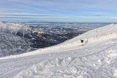 Downhill Skier on top of Kasprowy Wierch in Zakopane in Tatras i Royalty Free Stock Photos