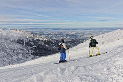 Downhill Skiers atop of Kasprowy Wierch in Zakopane in Tatras in Royalty Free Stock Image
