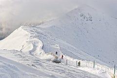 Downhill Skiers in Kasprowy Wierch of Zakopane in Tatras in wint Stock Photography