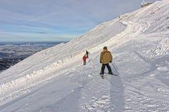 Downhill Skiers in Kasprowy Wierch in Zakopane in Tatras in wint Stock Photography