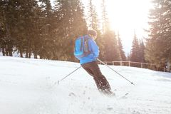 Downhill skiing stock photography
