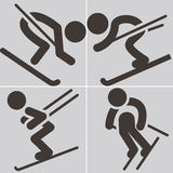 Downhill skiing icons Stock Image