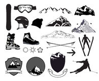 Downhill skiing icons Set. Stock Photos