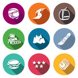 Downhill Skiing Icons Set. Vector Illustration. Flat Icons collection on a color background for design Stock Photography