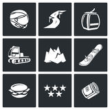 Downhill Skiing icons. Vector Illustration. Downhill Vector Isolated Flat Icons collection on a black background for design Stock Photography
