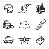 Downhill Skiing icons. Vector Illustration. Stock Images
