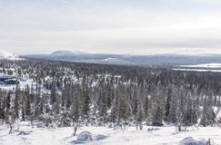 Downhill skiing lopes in Lapland Finland Royalty Free Stock Photo