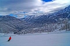 Downhill skiing resort Stock Photography