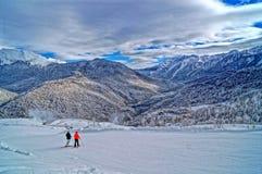 Downhill skiing resort Royalty Free Stock Photos