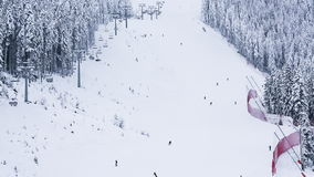 Downhill skiing on Todorka mountain stock footage