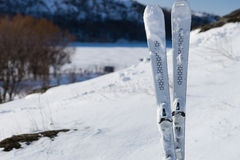 Downhill Skis Standing Upright on Snowy Mountain. Still Life of Downhill Skis Standing Upright on Snow Covered Mountainside with View of Valley in Background on Royalty Free Stock Images