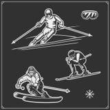 Downhill and slalom ski racer illustration. Vector Royalty Free Stock Image