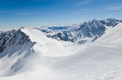 Downhills in the winter Pyrenees Stock Image