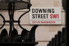 Downing Street. Road sign in London royalty free stock photography